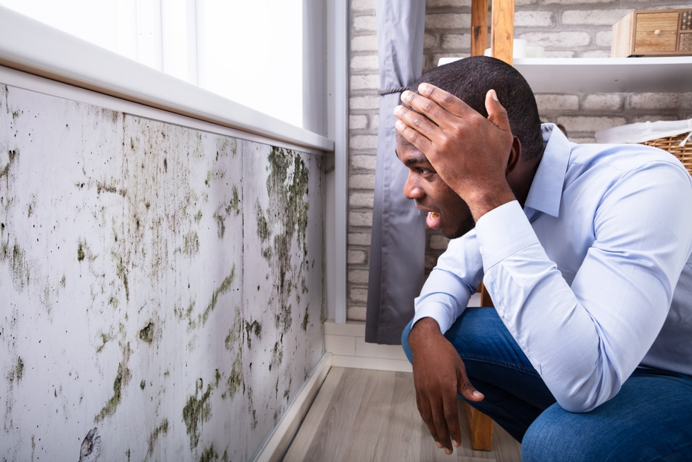 Shocked young man looking at mouldy wall due to cavity wall problem